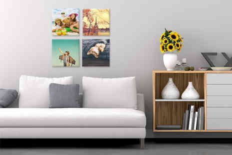 "Deco Matters - Four 8"" x 8"" personalised canvas prints - Save 90%"