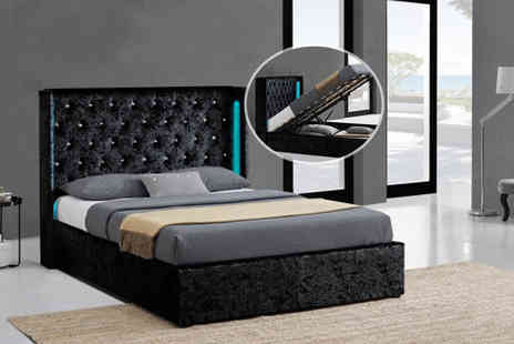 Limitless Base - A black crushed velvet LED ottoman double bed frame - Save 79%