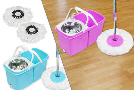 Sashtime - Easy spin floor mop with two heads choose from blue or purple - Save 52%