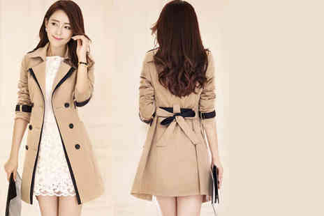 Bluebell Retail - Womens belted trench coat choose from beige or black - Save 64%