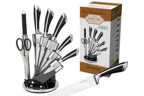 Groupon Goods Global GmbH - Royalty Line 8 Piece Stainless Steel Knife Set With Stand - Save 0%