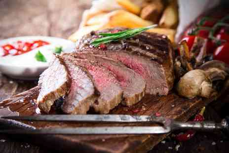 Basement Bar & Grill - 8oz porterhouse steak meal for two including a sauce, side and glass of wine each - Save 52%