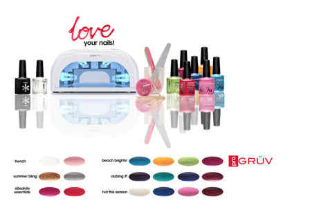Gruv France - Nine piece UV nail kit including a UV lamp and two polishes including four polishes - Save 87%