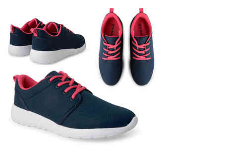 Online Avenue - Pair of womens navy mesh trainers - Save 65%