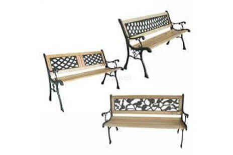 Deal Champion Goods - Three Seater Outdoor Home Wooden Garden Bench with Cast Iron Legs - Save 0%