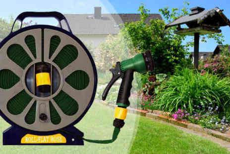 Deal Champion Goods - Flat Hose Pipe & Reel with Spray Nozzle Gun - Save 75%
