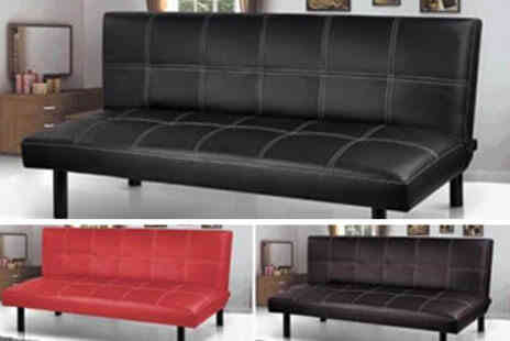 Deal Champion Goods - Modern Three Seater Leather Foldable Sofa Bed Choice of 3 Colours - Save 0%