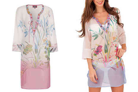 Martildo Fashion - Floral Print Kaftan With Bead Detailing Available in Two Colours - Save 31%