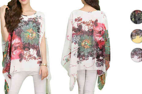 Shapelle - Printed Chiffon Blouse Available In Three Colours - Save 67%