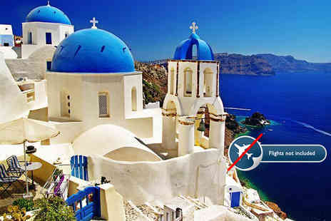Blue Diamond Bay Hotel - Three or Four night Santorini stay for two people with a carafe of wine - Save 74%