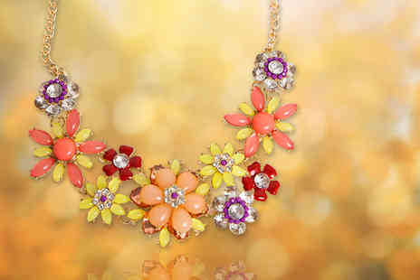 Diamond Republic Jewellery - Flower necklace choose from two colours - Save 77%