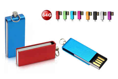 EF Mall - 64GB USB stick choose from black, blue, gold, green, pink, purple, red and silver - Save 76%