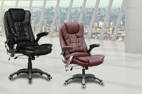 The Import House - Heated office chair with a six point massage function choose either black or brown - Save 54%