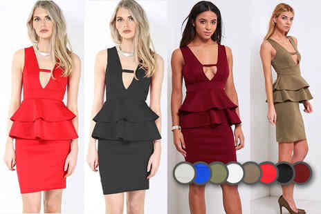 Bejealous - Double peplum bodycon dress choose from five colours and 10 sizes - Save 69%