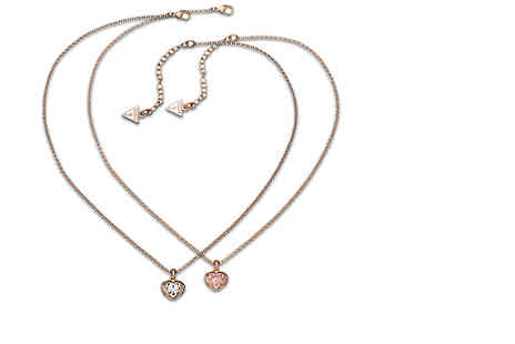 Class Watches - Guess rose gold plated pendant necklace choose from two colours  - Save 53%