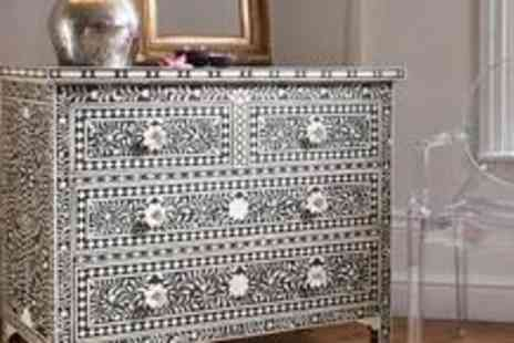 Decoholic - Hand crafted Pichola bone inlay chest of drawers - Save 38%
