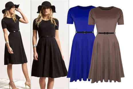 Bejealous - Short sleeved midi skater dress  choose from five colours - Save 67%
