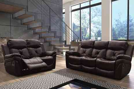 Groupon Goods Global GmbH - Gizelle Brown or Black Leatheraire Recliner Sofa Set With Free Delivery - Save 0%