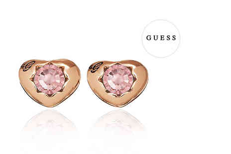 Class Watches - Guess rose gold plated heart stud earrings - Save 64%