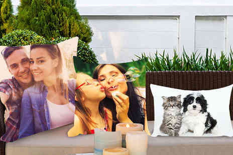 Dip Into Sales - Personalised colour photo cushion choose from two sizes - Save 60%