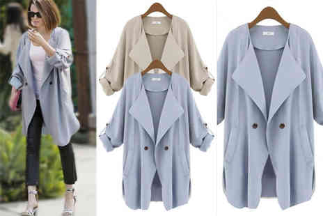 EF Mall - Womens trench coat  choose from blue or khaki - Save 78%