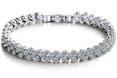 Groupon Goods Global GmbH - One or Two Created Sapphire White Gold Filled Multi Link Bracelets - Save 0%
