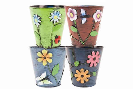 Affinity International - Decorative Metal Plant Pots - Save 44%