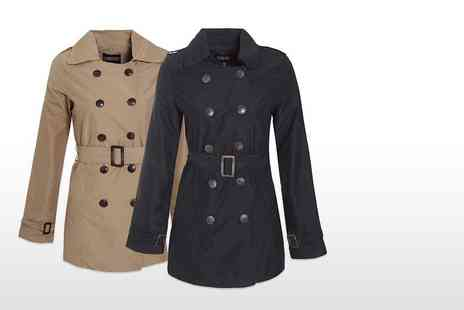 Envy Boutique - Double breasted trench coat choose from two colours - Save 79%
