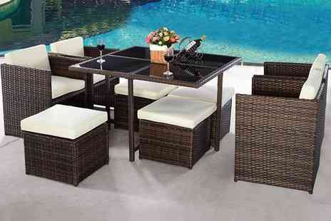 FDS Corporation - Nine piece rattan dining cube set - Save 70%
