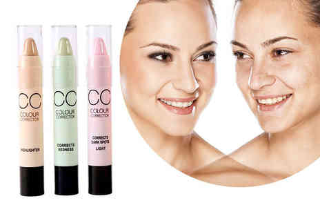 GetGorgeous - Three colour corrector sticks in pink, mint and yellow - Save 67%