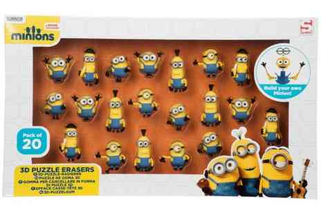 Groupon Goods Global GmbH - 20 Pack Minions 3D Puzzle Erasers in Window Box - Save 0%