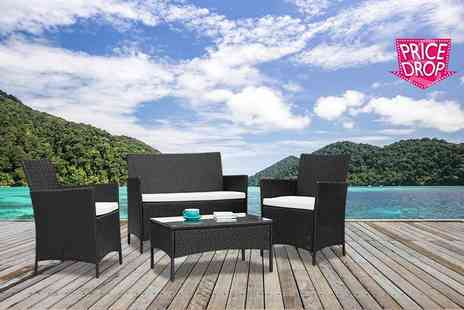 Furniture Instore - Four piece rattan garden furniture set choose either black or brown - Save 81%