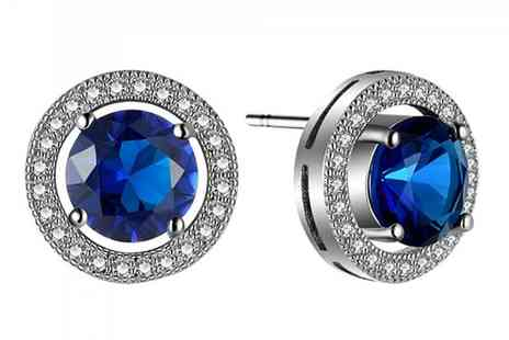 Groupon Goods Global GmbH - 10Ct White Gold Filled Earrings with 2.5Ct Cut Blue Sapphire Gem Stone - Save 0%