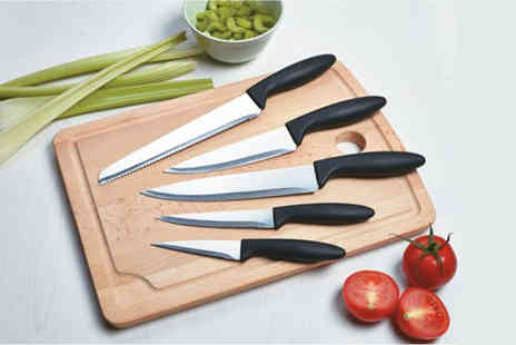 Qudos Direct - Five piece stainless steel knife set - Save 72%