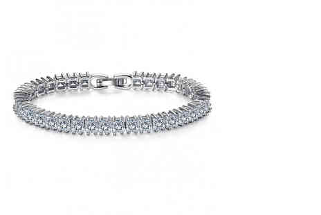 Your Ideal Gift - White gold plated sapphire tennis bracelet - Save 94%