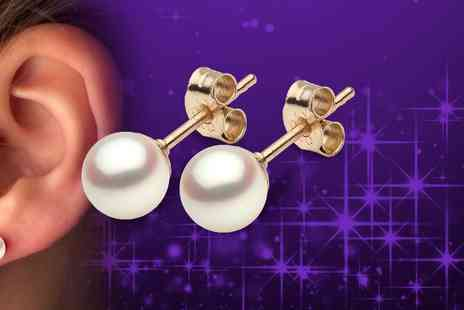 DTA Trading - 9ct yellow gold cultured freshwater pearl 6.5mm stud earrings - Save 54%