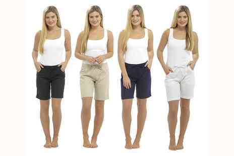 Groupon Goods Global GmbH - Two Pack of Womens Linen Shorts in Choice of Colour - Save 0%