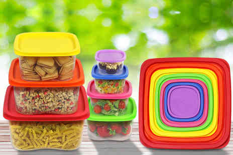 Wowcher Direct - 7pc square rainbow food container set - Save 65%