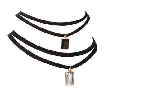 I Luv Boutique - Faux leather double strap choker necklace with a crystal pendant choose from three styles - Save 84%