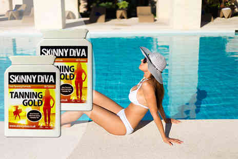 Skinny Diva - Two or Four month supply of Tanning Gold tablets - Save 77%