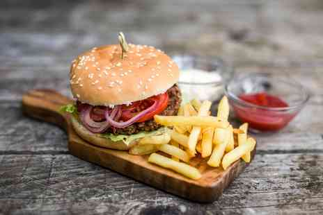 Double Barrel Steakhouse - Burger with Chips for Two or Four - Save 42%