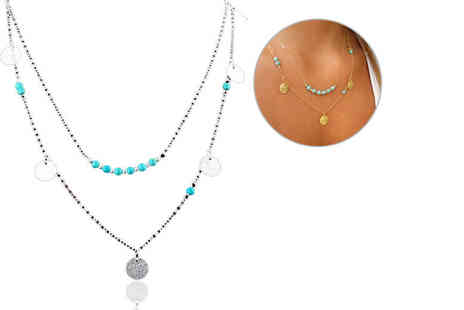 LOVETTI - A turquoise layered beaded necklace - Save 74%
