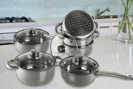 DIRECT2PUBLIK - A six piece stainless steel cookware and steamer set - Save 79%