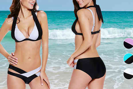 london exchainstore - Block Push Up Bandage Bikini Set Available In Three Colours - Save 64%