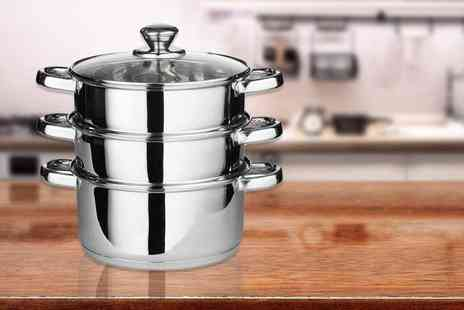direct2publik - Three piece stainless steel steamer set - Save 78%