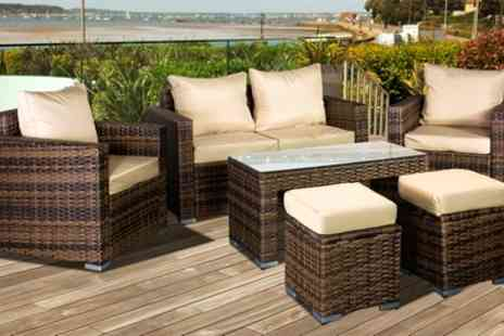 Groupon Goods Global GmbH - Oseasons Oxford Modular Six Seater Lounge Set with Coffee Table and Footstools Include Free Delivery - Save 28%