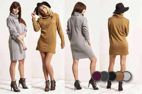 Bejealous - An oversized cowl neck knitted dress - Save 52%