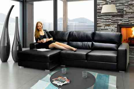Groupon Goods Global GmbH - Naples Leather Two Seat Sofa, Corner Sofa or Set With Free Delivery - Save 0%