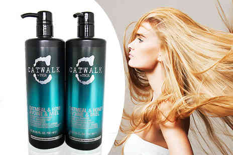 The Beauty Store - Bottles of Tigi Catwalk oatmeal & honey nourishing shampoo and conditioner - Save 73%