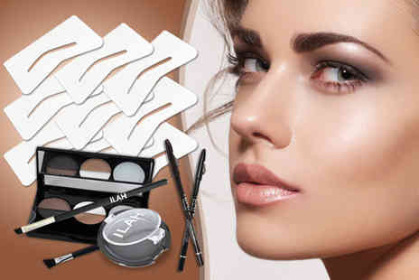 Ilah Distribution - Brow travel kit, plus six stencils, eye pencil and a brush - Save 77%